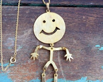 Vintage Smiley Face Articulated Stick Man Figure Pendant Gold tone