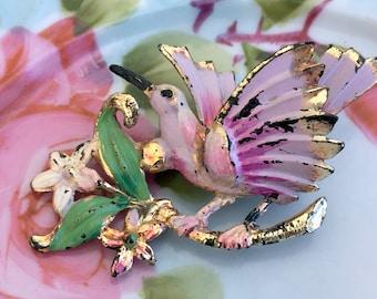 Vintage Shabby Celluloid Bird Brooch Pink Hummingbird
