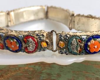 Antique Italy Signed Micro Mosaic Bracelet Glass Flower Silvertone 6 panel
