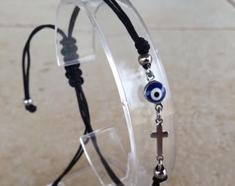 Evil eye cross bracelet  - dark blue eye  -stainless steel - protection - Greek jewelry - Greek eye