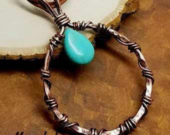 Wrapped Hammered Circle Necklace Copper Wire Turquoise Teardrop Wire Wrapped