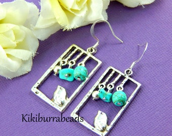 Bird Earrings, Silver Bird Earrings, Turquoise Earrings