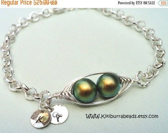 Christmas Sale Two Peas In A Pod Silver Bracelet With  Personalized Hand stamped Discs