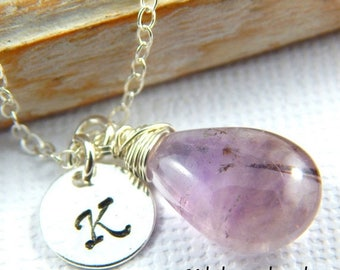 Mothers Day Sale Amethyst Necklace, February Birthstone Necklace, Initial Necklace, Moss Amethyst Necklace, Super 7, Personalized Necklace,