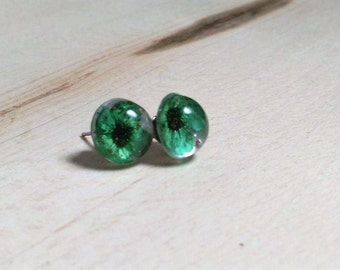 Green pressed flowers stud earrings.