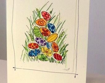 "Easter Eggs  Watercolor Original Strathmore Card 5"""" x 6 7/8"" & Envelope  betrueoriginals"