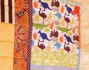 "Boy Quilt ""Koala Bears Panda Kangaroo""  Wall Hanging, 42"" Wide x 50"" LongCotton Patchwork Quilt Fabric betrueoriginals"
