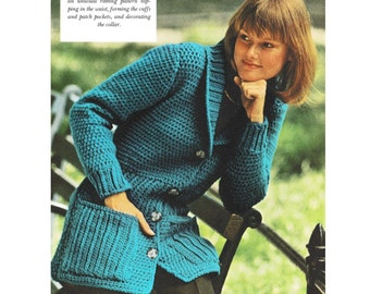 INSTANT DOWNLOAD PDF  Vintage Crochet Pattern   Shawl Collared Fitted Jacket   Cardigan