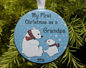 First Christmas As A Grandpa Ornament - Polar Bears - C168