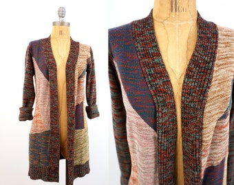 SALE vintage 70s space dyed PATCHWORK cardigan sweater S-M