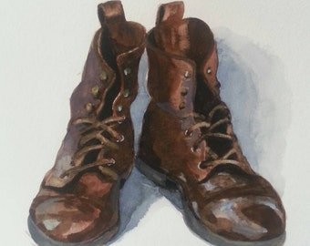 L's boots.  - original watercolor painting