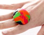 Statement Ceramic Ring -  Big ring, Bold ring, Neon ring, Fall fashion, Cocktail Ring, New Year Fashion