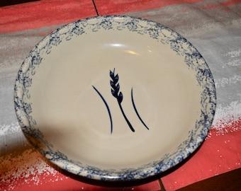 Robinson Ransbottom Pottery RRP Roseville Ohio Blue Wheat Sponge Ware Large Pasta Bowl Spaghetti Dish