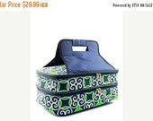 BLACK FRIDAY Cyber Monday Personalized Casserole Carrier  Navy and Lime Geometric Tote Monogrammed Gift
