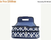 BLACK FRIDAY Cyber Monday Personalized Casserole Carrier  navy vine Casserole Tote IKAT Monogrammed Gift