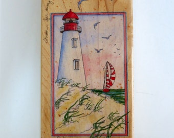 Rubber Stamp, Lighthouse and Sailboat Rubber Stamp by Stamps Happen Inc, A Friendly Light 80150