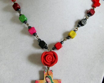 Our Lady of Guadalupe necklace red rose cross pendant virgin mexicana necklace mexico catholic Rosary style collectible Colorful
