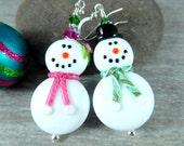 Snowman & Snow Lady Earrings, Boy and Girl Snowmen Earrings, Large Christmas Dangle Earrings, Holiday Jewelry, Lampwork Glass Winter Jewelry