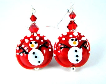 Snowman Christmas Dangle Earrings, Winter Holiday Jewelry, Falling Snow Earrings, Bright Red Glass Earrings, Office Party Whimsical Lampwork