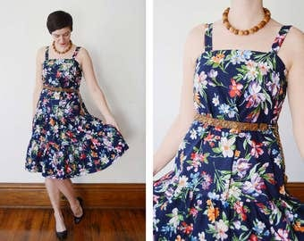 1980s Blue Floral Sundress - M