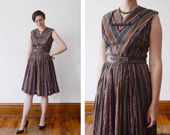1950s Grey and Red Striped Dress - S/M
