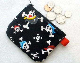 Hipster Pirates Boys Coin Purse Skull Crossbones Mini Coin Purse Little Zipper Change Purse Alexander Henry Fabric Black Red Blue MTO