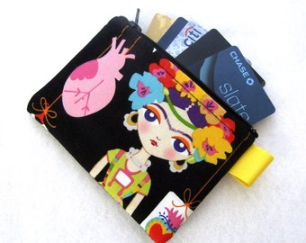 Esperanza Artist Frida Kahlo Womens Credit Card Case Zippered Coin Purse Wallet Business Card Holder Fabric Alexander Henry Black Colorful