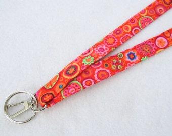 Paperweight Glass Kaffe Fassett Fabric Lanyard Breakaway Lanyard Designer ID Badge Holder Clip Key Ring Fob Red Orange Pink Millifiore MTO