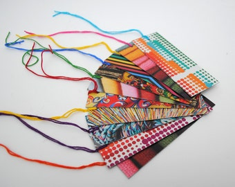 colorful GIFT TAGS set of 10- made from recycled magazines, colorful, unique, one-of-a-kind, pattern, all colors, mixed patterns, fun