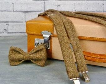 Tweed Bow Tie and Braces/Suspenders set - Brown Yorkshire Tweed