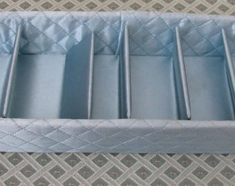 Vintage Baby Blue Quilted Satin Hosiery Stocking Hankie Divided Dresser Drawer Accessory Box