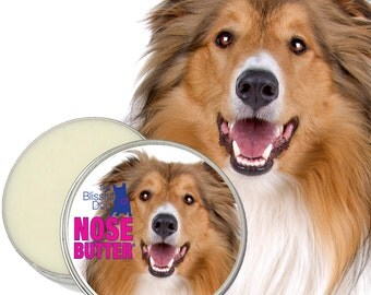 Collie NOSE BUTTER® Handcrafted in USA, All Natural Balm for Rough, Dry or Crusty Dog Noses 8 oz. tin with Collie Label Scented or Unscented