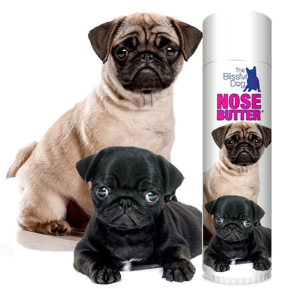 PUG Original NOSE BUTTER® Handcrafted All Natural Balm for Dry Crusty Dog Noses .50 oz Tube Choice of Pug Duo, Fawn or Black Pug Label