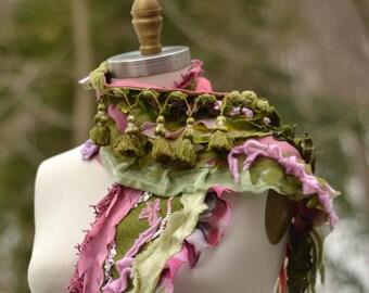 Long green pink Scarf, boho unique fantasy wrap, refashioned art to wear accessory, romantic Victorian shawl, gypsy OOAK fairy scarf