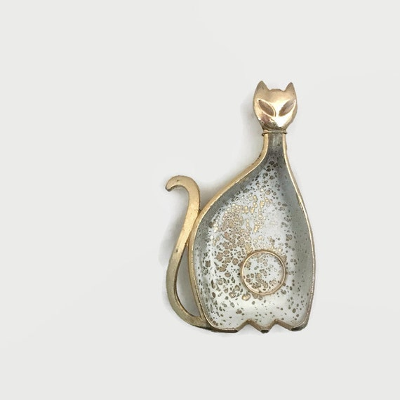 Modern Cat Ring Dish - Atomic Style - Gold Tone - Splatter