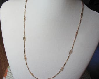 "Charming Long Vintage Gold Tone Chain Necklace. 23"". Bar Links and Filigree Links."