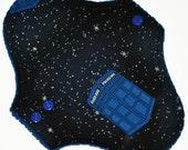 Light Hemp Core- Space Tardis Reusable Cloth Pantyliner Pad- Windpro Fleece- 8.5 Inches
