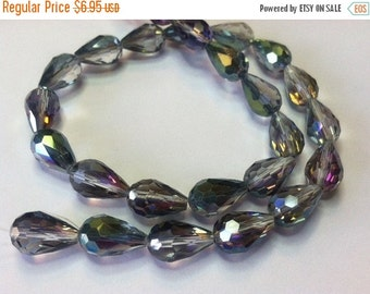 SALE Tear Drop Glass Bead 26 Faceted Beads 10mm x 16mm Greens Blues Purples 619B
