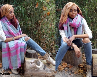 Blanket Scarf Shawl Pink & Gray Wrap Block Plaid Brushed Soft Wool Acrylic Blanket Scarf Gifts for Her Long Scarf