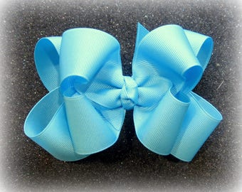 Girls hair bows, Double layer bow, Girls Hairbows, Large hairbows, Mystic Blue Bow, big bows, 4 5 inch hairbows, stacked bows, blue hair bow