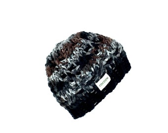 chemo beanies-black ombre-beanie-crochet cable stitch