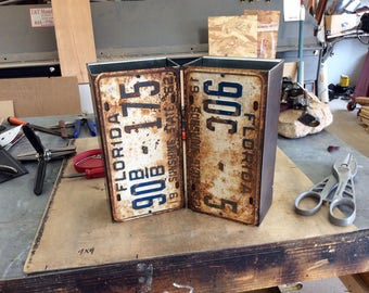 Vintage License Plate Light Sconces / Pair