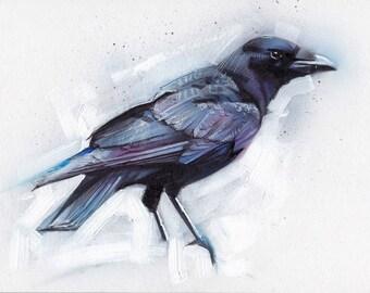 Crow Acrylic Painting Original Art