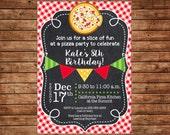 Boy or Girl Pizza Pizzeria Chalkboard Chalk Bunting Banner Red Check Invitation #2- DIGITAL FILE
