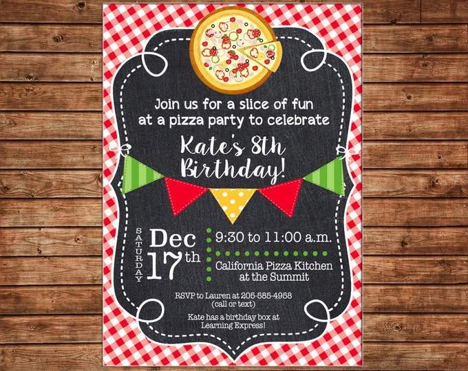 Boy or Girl Pizza Pizzeria Chalkboard Chalk Bunting Banner Red Check Invitation #2- DIGITAL FILE
