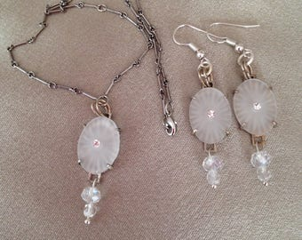 Vintage Art Deco Starburst Camphor Crystal Pendant and Earrings