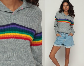 Hooded Sweater 80s Rainbow Striped Knit Hoodie Vintage Slouchy Hipster Boho Pullover Grey Half Button Up Hood Jumper Raglan Medium Large