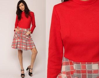 Mod Dress 60s Mini Plaid Pleated School Girl 70s GOGO Checkered Print Red Vintage Long Sleeve Funnel Neck Grey Minidress  Medium Large