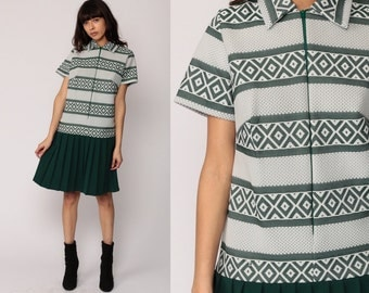 1960s Mod Dress Mini SCOOTER Shift 60s Drop Waist Pleated Striped Vintage Short Sleeve 70s Twiggy Green School Girl Collar Extra Large xl