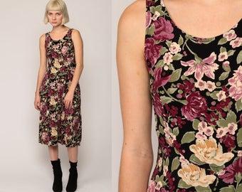 90s Floral Dress Midi Summer Dress Grunge Boho CORSET Back High Waisted Plum Purple 1990s Bohemian Sheath Vintage Sleeveless Extra Small xs